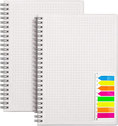 SOYOOFIS Quad Ruled Spiral Notebook A5 size5.8   x 8.38  Transparent Hardcover Square Grid Spiral Journal - graph paper notebook 5 squares per inch composition - square grid notebook 80 gsm paper 80 Sheets Per Pack with Elastic Closure Strap with 1pcs Neon Color Page Markers(2-pcs)