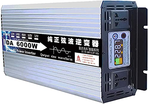 Inversor De Corriente Onda sinusoidal Pura 3000W 4000W 5000W 6000W 8000W Transformador Convertidor DC 12V 24V 48V 60V 72V a AC 220V 230V Convertidor Tensión Inversor para Hogar Carro RV (60V,6000W)
