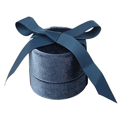 Bonarty Caja de Almacenamiento de Joyería de Terciopelo Soporte de Regalo de Almacenamiento de Exhibición de Collar de Anillo de - Armada, Anillo en L