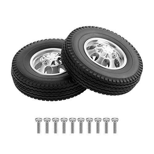 LIANQI 2 Piezas de actualización de Piezas 1/14 Rueda Delantera de Tractor con aleación de Aluminio Accesorios de Modelo de Control Remoto de Cubo de 7 Orificios - Negro