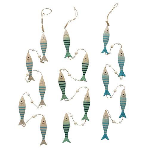 Juego de 3 guirnaldas decorativas (100 cm), diseño de peces pintados