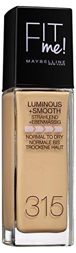 Maybelline New York Fit Me Liquid Make-up - flüssige Foundation, LSF 18 & Vitamin C, frischer Teint, natürlicher Glow, Nr. 315 Soft Honey, 30 ml