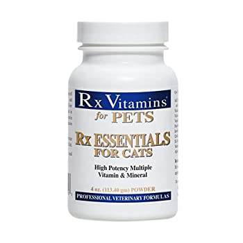 Rx Vitamins Essentials for Cats - Vitamin & Mineral Multivitamin Supplement - Add to Wet or Dry Cat Food - Powder 4 oz