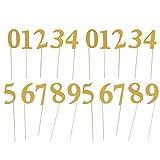 Amosfun 20pcs número 0-9 Velas de pastel con purpurina numérica para decoración de tartas de cumpleaños para suministros de fiesta de cumpleaños (dorado)