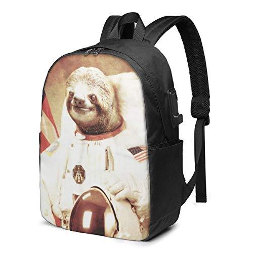 AOOEDM Divertido Vestido de Perezoso como Astronauta Mochila para portátil Mochila Escolar universitaria Resistente al Agua con Puerto de Carga USB