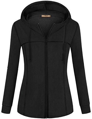 Miusey Zip Up Sweatshirts for Women,Oversize Sport Jacket Full Sleeve Drawstring Hoody Shirt Basic Yoga Gym Sport Tunic Clothing Baggy Loose Dressy Tops Perfect Stadium Black XXL
