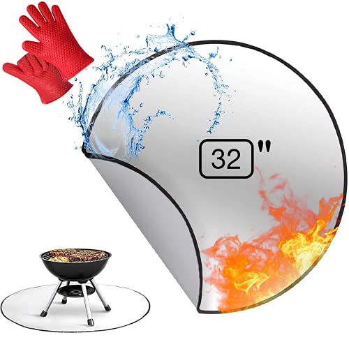 Round Fire Pit Mat Deck Protector 32'' Fireproof Pad Heat Reflector, BBQ Floor Protective Mat, Premium 3 Layer Fire Resistant Mat for Outdoor Grill, Deck Defender, Chiminea, Grass, Patio Bonfires BBQ