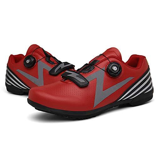 HZWL Zapatillas Ciclismo Carretera sin candados, Zapatillas Ciclismo Carretera Ocio Primavera y Verano para Hombres y Mujeres (Rojo) Red-UK 4.0 = EU 37