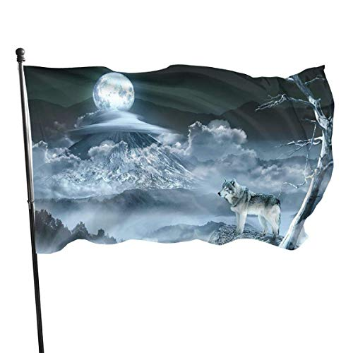 Alanader Gartenparty-Flagge im Freien,Flag 3 X 5 Ft Moon Wolf Home Decoration Durable Polyester for Outdoor/Indoor/Garden