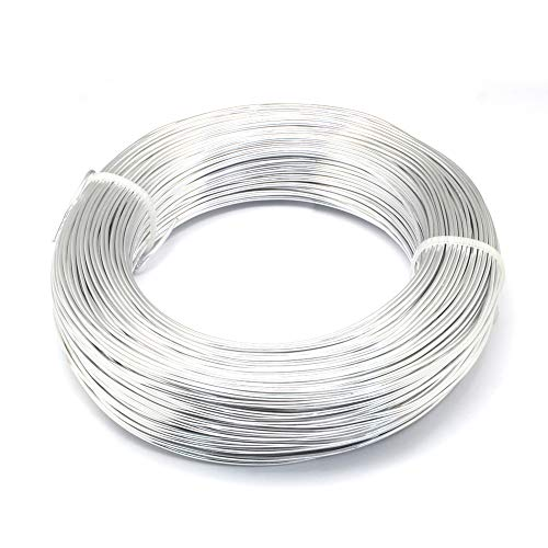Kissitty 22 Gauge (0.6mm) Aluminum Craft Wire Silver Coil Jewelry Floral Making Beading Wire 918 Feet/Roll