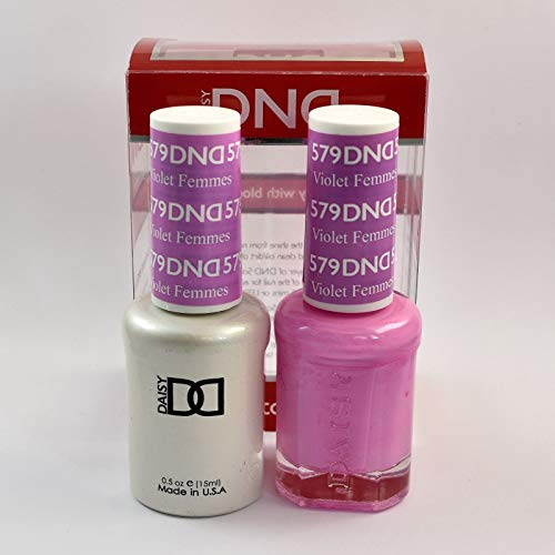 DND Daisy Duo Soak off Gel and Matching Nail Polish - 2016 Collection + Buy 2 colors get 1 FREE airbrush Stencil (579 - Violet Femmes) by Daisy DNA