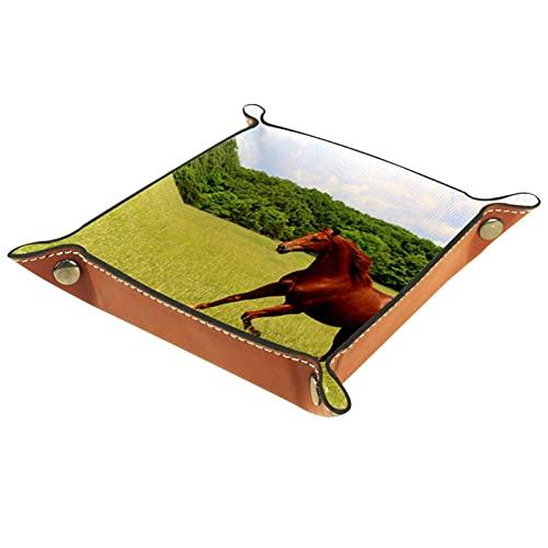 Bandeja de Cuero - Organizador - Caballo de la acedera corriendo en pastos de verano. - Práctica Caja de Almacenamiento para Carteras,Relojes,llaves,Monedas,Teléfonos Celulares y Equipos de Oficina