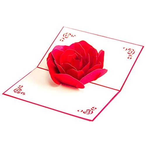 ENJOYPRO Rose Pop Up Card, Valentines day card, Mothers day card, 3d Rose Card, Rose Flower Greeting Card, Rose Birthday Card With Envelope For Valentine's day, Mother's day (3D Rose, Pack of 1) Photo #3