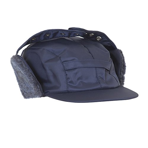 Textiles Universels Chapeau Style Trappeur imperméable avec Cache-Oreilles - Homme (60 cm) (Bleu Marine)
