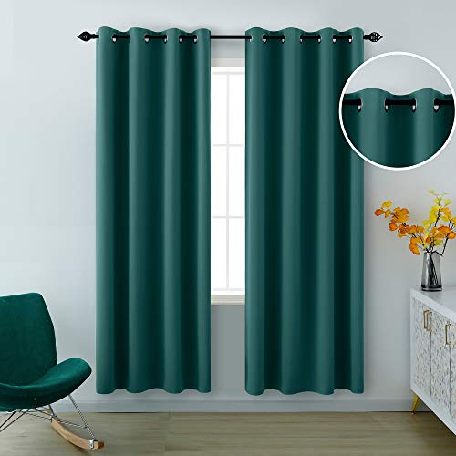 Green Blackout Curtains 84 Inch Length for Living Room Set of 2 Panels Grommet Window Drapes Insulated Thermal Light Blocking Blackout Curtains for Bedroom 1 Pair 52x84 Inches Long Dark Green
