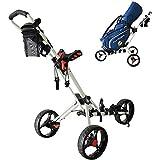 TTW Golf Push Cart 3 Ruedas Carrito Golf Plegable con paragüero, Tarjeta puntuación y Porta...