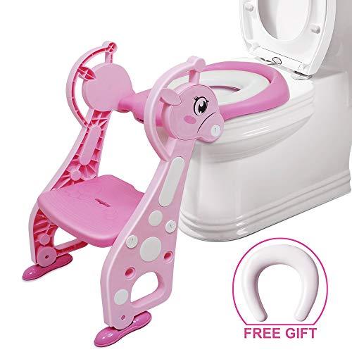 Toilettentrainer mit Treppe – Chairlin Töpfchentraining Toilettensitz WC Sitz kindertoilette, kinder toilettenstuhl, Kinder Toiletten Training für 2-7 jährige Kids, mit 2 Kissen (Rosa)