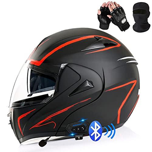 HOMFLOW Bluetooth Casco Moto Modular con Doble Visera En Integrado De Intercomunicación Sistema ECE Homologado con Mascara Facial Y Guantes Adultos Unisex (Color : O, Size : 3XL/XXX-Large 63-64CM)
