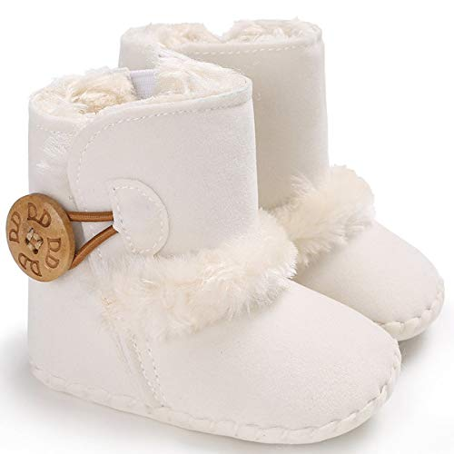 Newborn Baby Boys Girls Fur Leather Anti-Skid Sole Ankle Snow Boots Infants Crib Winter Warm Furry Booties (White, 6-12 Months)