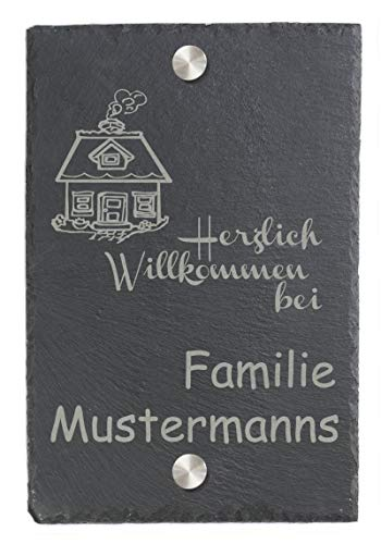 Feiner-Tropfen Türschild Namensschild Klingelschild mit Edelstahl Wunsch-Gravur Schiefer BK groß Mot-Haus