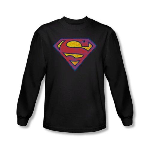 Superman - Sm néon détresse Logo T-shirt manches longues Men In Black -, Large, Black