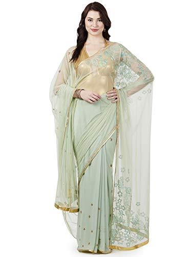 SATYAPAUL Women's Net Saree with Blouse (8903411932736_Indigo Blue)