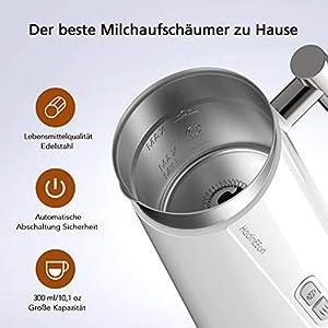 HadinEEon Milchaufschäumer 300ml 500w elektrisch Milchaufschäumer Edelstahl Automatischer Milchschäumer Erhitzen und Aufschäumen für heiße und kalte Milch, Weiß
