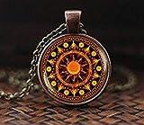 Sakralchakra-Mandala-Halskette, Yoga-Meditations-Anhänger, Spiritueller Yoga-Schmuck, Geschenk, heilige Geometrie-Halskette, Mandala-Anhänger