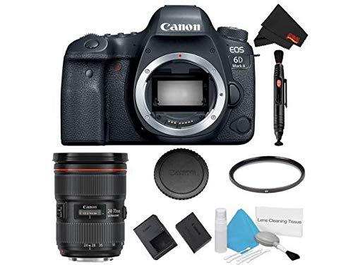 New Canon EOS 6D Mark II DSLR Camera (Body Only) Basic Filter Bundle + Bonus Canon EF 24-70mm f/2.8L...