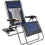 PORTAL Oversized Mesh Back Zero Gravity Recliner Chairs, XL Padded Seat Adjustable Patio Lounge Chair with Lumbar Support Pillow and Side Table Support 350lbs (Dark Blue)