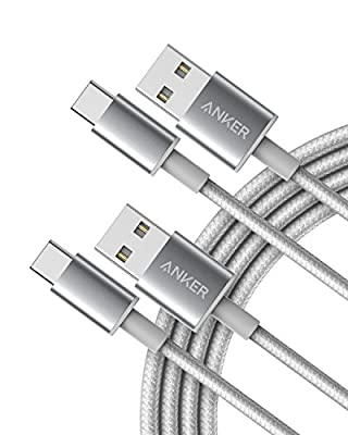 Anker USB C Cable, Anker 2-Pack, 6 ft Premium Nylon USB-A to USB-C Fast Charging USB Type C Cable, for Galaxy S10 / Note 8, LG V20 and More