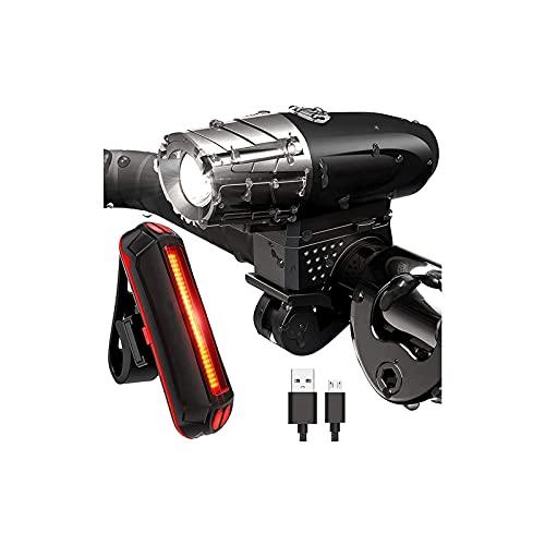 WGLL Conjunto de luz de bicicleta recargable, luz de bicicleta, instalación instantánea sin herramientas, se adapta a todas las bicicletas - 4 modos, luces de bicicleta iluminación delantera y trasera