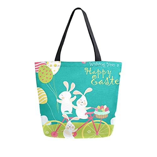 AHYLCL Bolsa de lona para montar en conejo de Pascua, bolsa de hombro, reutilizable, grande, multiusos, para el trabajo, escuela, compras, al aire libre