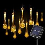 Luces de cadena solar al aire libre, 21.3 pies 30 DIRIGIÓ Luces de cadena de gotas de lluvia solar impermeable - luces de cadena solar waterdrop - luces de hadas con energía solar para patio casero de