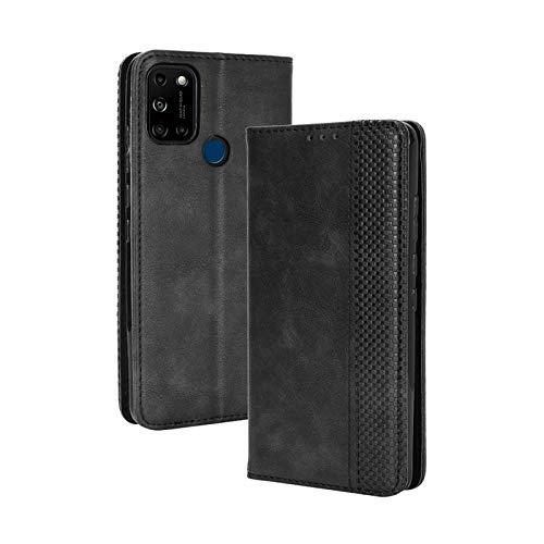 TOPOFU Leder Hülle für Wiko View 5/5 Plus, Premium Flip Wallet Tasche mit Ständer & Kartenfächer, PU/TPU Magnetic Lederhülle Handyhülle Schutzhülle für Wiko View 5/5 Plus (Schwarz)