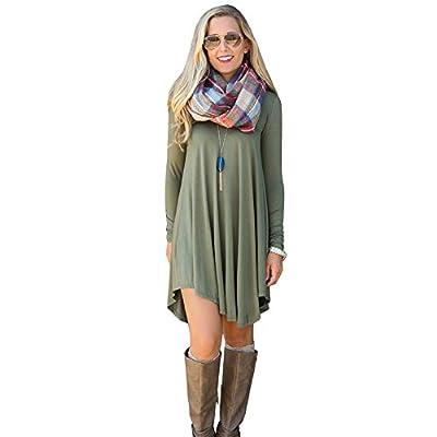 JOYMODE Womens Casual Long Sleeve Striped Tunic T-shirt Dress