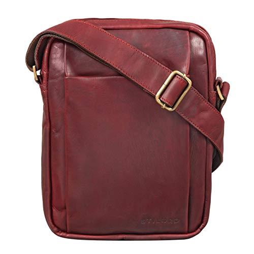 STILORD \'Harry\' Vintage Schultertasche Männer Leder für 10,1 Zoll Tablet Umhängetasche DIN A5 Herren-Handtasche Messenger Bag mit 2 Hauptfächern, Farbe:Rosso