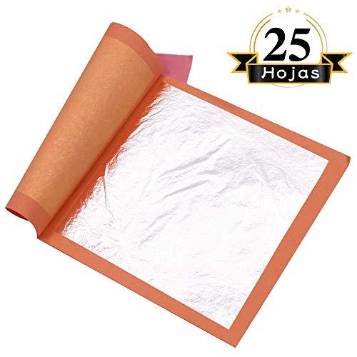 VGSEBA Pan de Plata Comestible Auténtico 25 hojas 11cm Lámina Dorada para Decoración de Pastel Dibujos Artesanías Manualidad Uñas Muebles