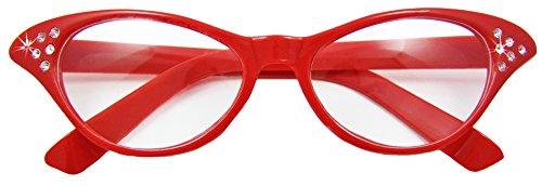 Das Kostümland - Fifties Cat Eye Brille Diamond - Rot - Zubehör 50er 60er Jahre Party Kostüm