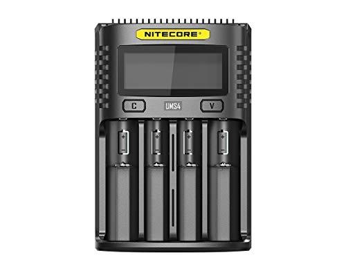 Nitecore UMS4 - Cargador Universal para Adulto (3000 mA, USB, Unisex, 159 x 107 x 41 cm), Color Negro