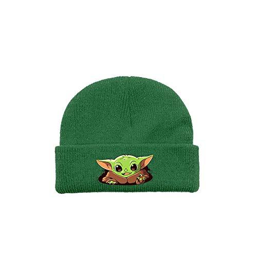 ZGRNB Gorro de Punto para jóvenes Yoda Baby Mandalorian Gorro de Punto para niños cálido Gorro de Lana con protección para los oídos