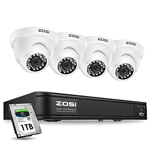 ZOSI H.265+ 5MP Dome Security Camera System for Houses, 4CH CCTV DVR with Hard Drive 1TB for 24/7 Recording, 4X 5MP 2K Surveillance Camera Indoor Outdoor,Long Night Vision, Remote Access