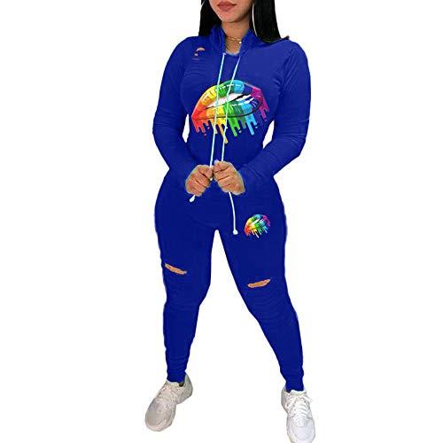 DISCOUNTL Damen Sportbekleidung, Kapuzenpullover, Damen, Schwarz, XXL, mit Buntem Lippenloch, Langlebig mit Kapuze, Outdoor-Sweatshirt, zweiteilig, Sportanzug Gr. 48, blau