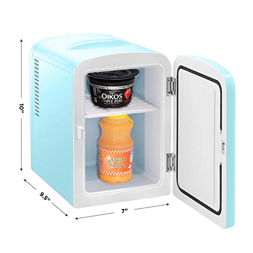Chefman Portable Mirrored Personal Fridge 4 Liter Mini Refrigerator Skin Care, Makeup Storage, Beauty, Serums And Face Masks, Small For Desktop Or Travel, Cool