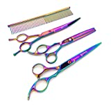 Gravitis Pet Supplies Professional Dog Grooming Scissors Four Piece Set with Case - 4 Pack: Curved Dog Scissors, Thinning Shears (Blending Scissors), Straight Scissors and Comb (Metallic Rainbow)