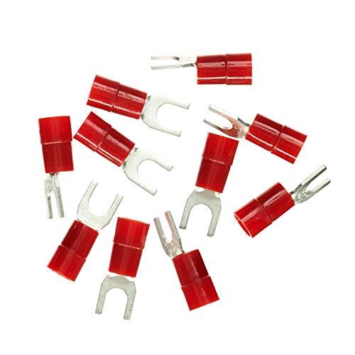Haupa BLV260860 Quetsch-Gabelkabelschuh isoliert 10mm² M6 rot 10 Stück, 10 mm ²
