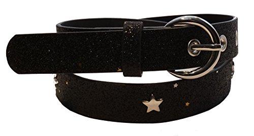EANAGO Glitzer-Kindergürtel 'Superstar schwarz' für Mädchen (Kindergarten- und Grundschulkinder, 5-10 Jahre, Hüftumfang 57-72 cm), Gürtelmaß 65 cm, mit Loch- und Sternnieten