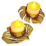 2Pack Leaf-Shaped Tealight Candle Holder...