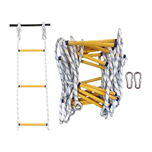 Touguqing Strickleiter Feuerleiter 2-6 Stockwerke Tragbare Rettungsleiter mit Karabinern, 3m 5m 8m Nylon Kletterleiter Perfekt für Indoor/Outdoor, Einfach zu Bedienen(Size:5m)