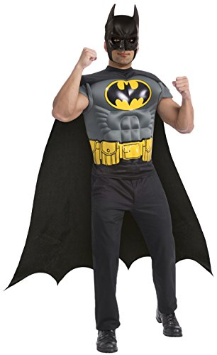 Batman Muscle Chest Top with Cap and Mask, Black, Standard